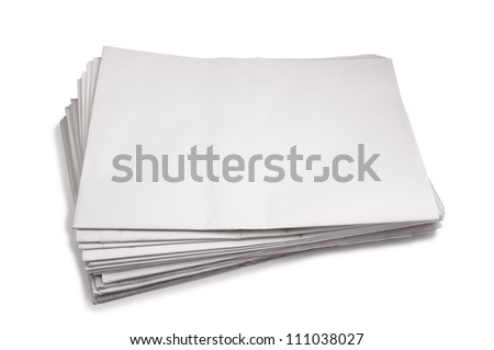 Newspaper stack , Isolated on white - stock photo