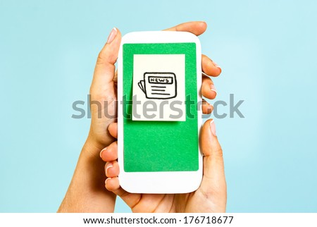 Newspaper symbol concept on blue background - stock photo