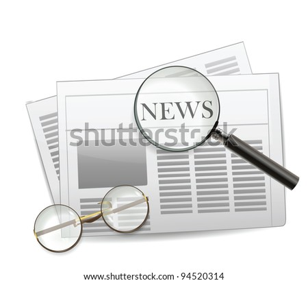 Newspaper with magnifying glass - stock photo