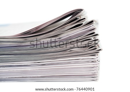 Newspapers on a white background - stock photo