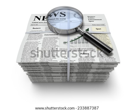 Newspapers with magnifier - stock photo