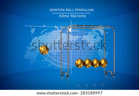 Newton ball pendulum movement laws  - stock photo