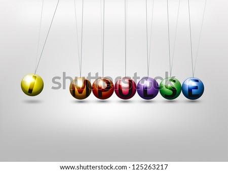 Newton cradle - impulse concept - stock photo