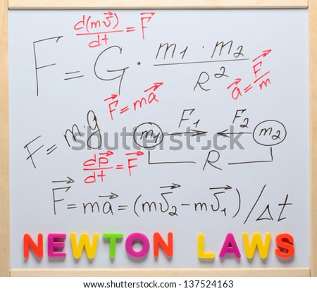 Newton laws written on a white board - stock photo