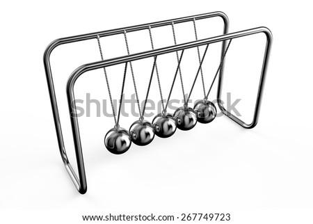 Newton's balls cradle isolated on white background - stock photo