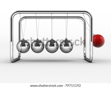 Newton's cradle - 3d render illustration - stock photo