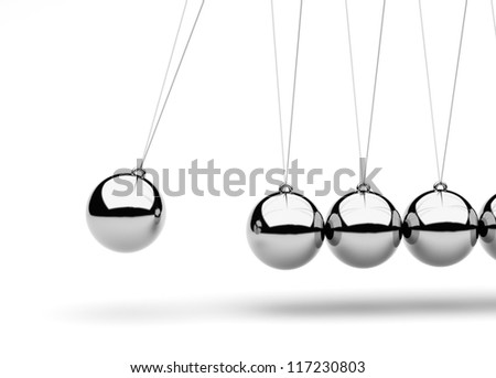 Newton's Cradle isolated on white/3D render - stock photo