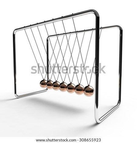 Newton's cradle with copper colored balls suspended from metal frame on a white background - stock photo