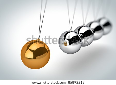Newton's cradle with one golden ball - stock photo