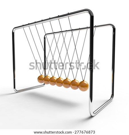 Newton's cradle with orange colored balls suspended from metal frame on a white background - stock photo