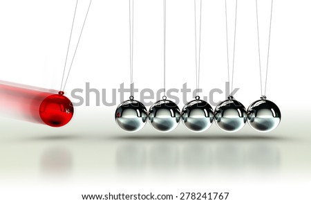 Newton's Cradle with red ball moving fast on white background - stock photo