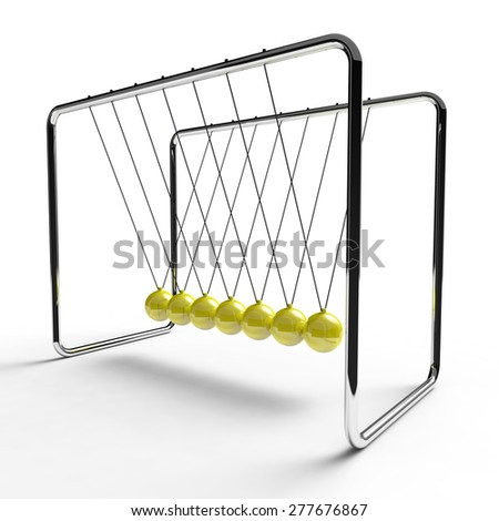 Newton's cradle with yellow colored balls suspended from metal frame on a white background - stock photo