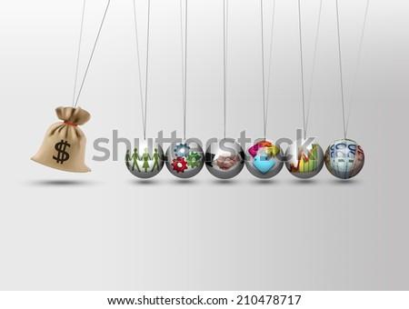 Newtons cradle - money bag - stock photo