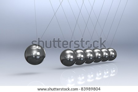 Newtons cradle Reflective Floor. Pendulum - stock photo