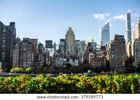 NewYork City panorama with Manhattan Skyline on sunny day - stock photo