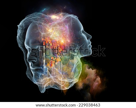Next Generation AI series. Background design of fusion of human head and fractal shape on the subject of mind, consciousness and spirituality - stock photo