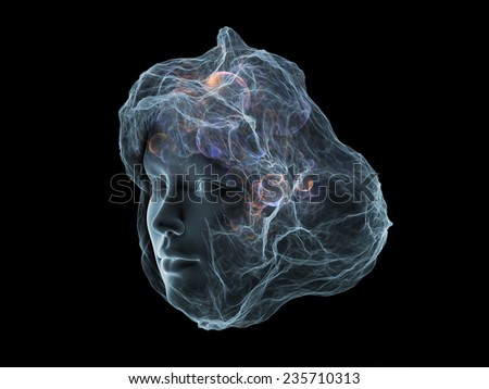 Next Generation AI series. Design composed of fusion of human head and fractal shape as a metaphor on the subject of mind, consciousness and spirituality - stock photo