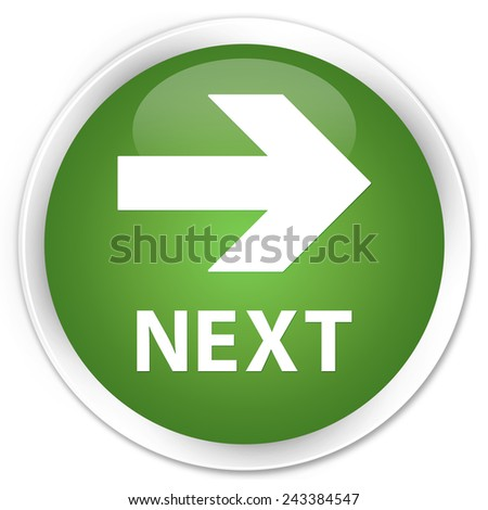 Next green glossy round button - stock photo