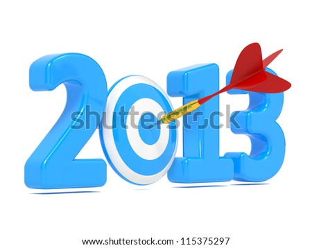Next New Year whit Blue Target and Red Dart. Business Concept - stock photo