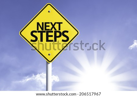 Next Steps road sign with sun background - stock photo