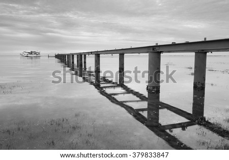 next to the pontoon , Ria Formosa, olhao, Algarve, Portugal - stock photo