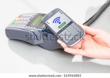 NFC - Near field communication, mobile payment  - stock photo
