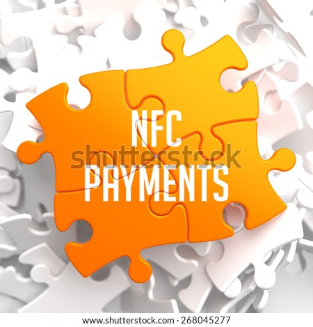 NFC Payments on Yellow Puzzle on White Background. - stock photo