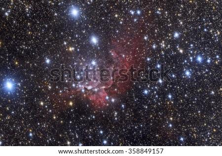 NGC7380 Wizard nebula - stock photo