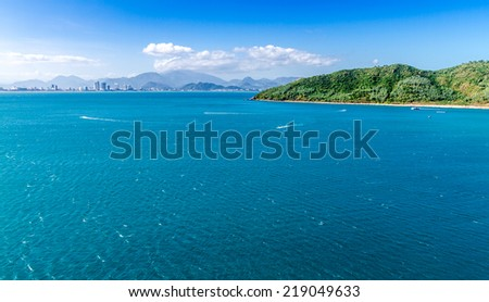 Nha Trang City, viewed from Vinpearl's Cable Car on a nice day. - stock photo