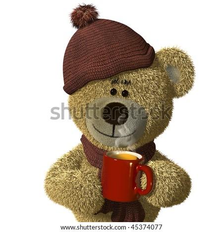 Nhi Bear holding a steaming mug of tea. - stock photo