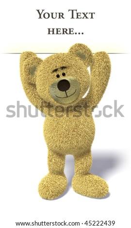 Nhi Bear holding empty white billboard above head. - stock photo