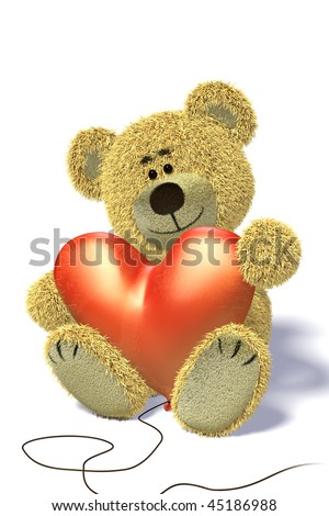 Nhi Bear sits on the ground, holding a heart-shaped balloon, smiling, relaxing having a break. - stock photo