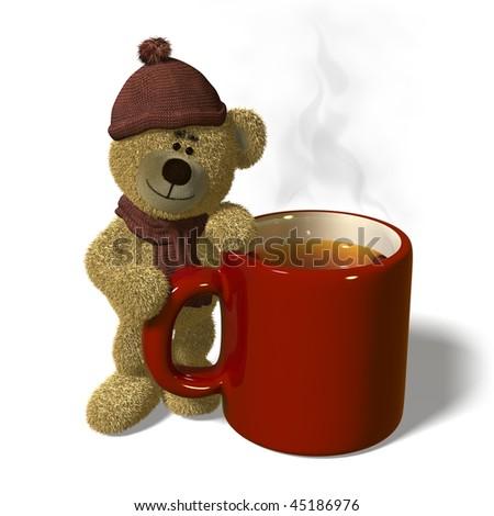 Nhi Bear stands next to a steaming mug of tea. - stock photo