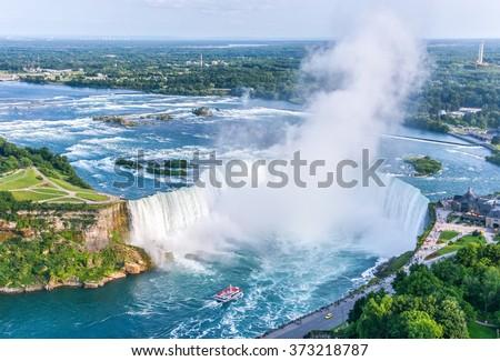 Niagara Falls Aerial View, Canadian Falls, Canada - stock photo