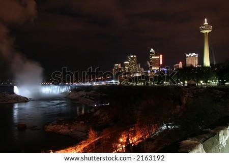Niagara Falls City Landscape at Night During Winter - stock photo