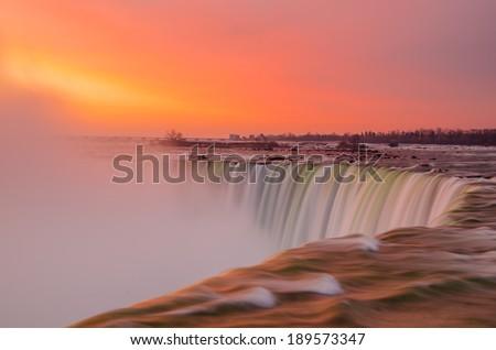 Niagara Falls on a beautiful morning - stock photo
