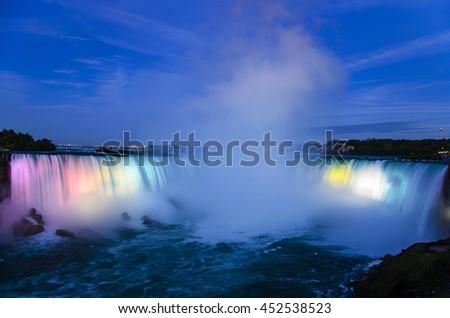 Niagara Falls Panoramic View at night. Canadian Falls Ontario, Canada - stock photo