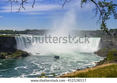 Niagara Falls Panoramic View, Canadian Falls Ontario, Canada - stock photo