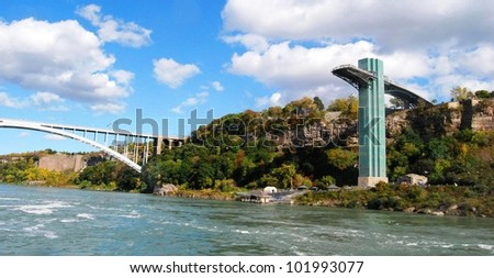 Niagara Falls Tower View from Canada - stock photo