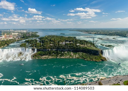 Niagara Falls view from Skylon Tower platform - stock photo