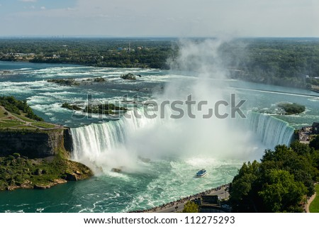 Niagara Falls view from Skylon Tower platforms, horseshoe - stock photo