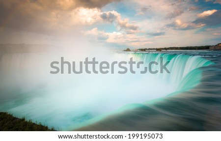 Niagara falls, with clouds and lots of mist - stock photo