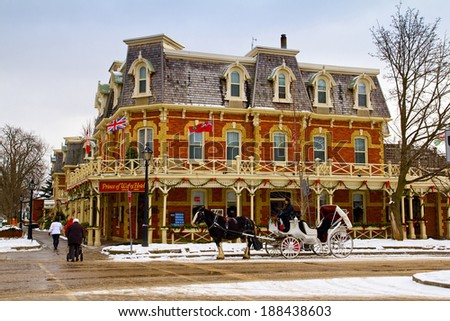 NIAGARA ON THE LAKE, ONTARIO - JANUARY 9, 2011: Historic Prince of Wales Hotel in Niagara On The Lake, Ontario, Canada. The three story hotel with 100 rooms was built in 1864. - stock photo