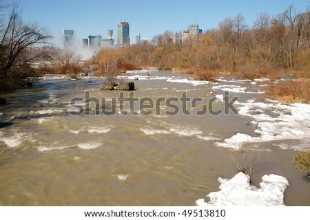Niagara River leading to the falls in winter - stock photo
