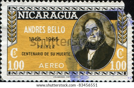NICARAGUA - CIRCA 1965: A stamp printed in Nicaragua shows Andres Bello -  a Venezuelan humanist, poet, lawmaker, philosopher, educator and philologist, circa 1965 - stock photo