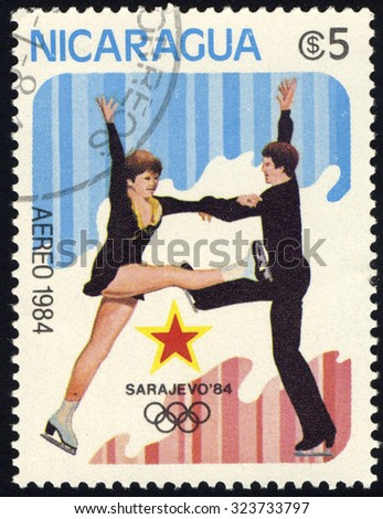 NICARAGUA - CIRCA 1984: A stamp printed in Nicaragua shows ice dancing, circa 1984 - stock photo