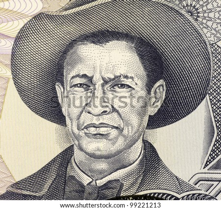 NICARAGUA - CIRCA 1985: Augusto Cesar Sandino (1895-1934) on 1000 Gordobas 1985 Banknote from Nicaragua. Nicaraguan revolutionary and leader of a rebellion against the U.S. military occupation. - stock photo