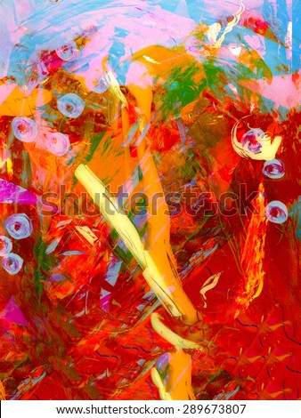 Nice Abstract  Original oil Painting mixed media - stock photo