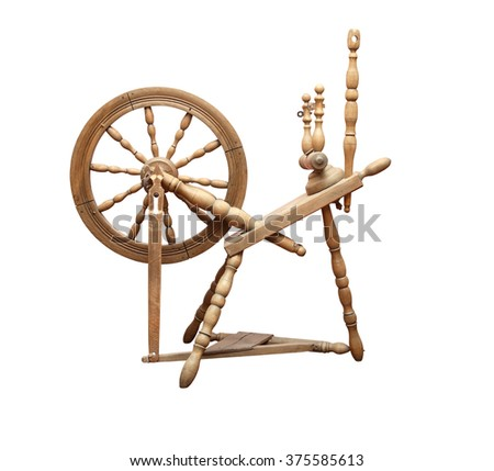 Nice ancient wooden spinning wheel on white background. Isolated with clipping path - stock photo