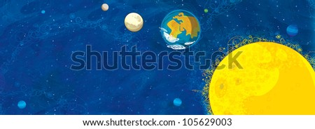 Nice and big - cosmic - horizontal drawing for children with different objects - stock photo